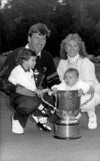 Nick Faldo along with his family after winning the Suntory World Match Play Championship.