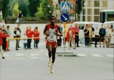 Alfred Shemweta participates during the Stockholm race.