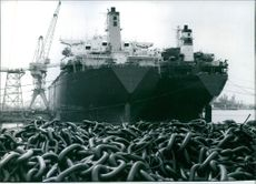 Two supertankers tied up for repairs, 1976.