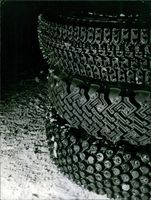 Vintage photo of tires used in Monte Carlo Rally. Photo taken on January 24, 1966.
