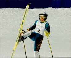 Pernilla Wiberg takes Sweden's first gold medal in the alpine combination, slalom