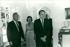 Richard Nixon visits the Château de Malleret in Medoc, Bordeaux, France. He is shown around the wines of the two leaders.