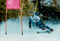 Johan Wallner goes skiing in Hafjell during the winter Olympics in Lillehammer