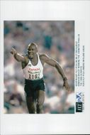 Donovan Bailey after winning the 100m finals during the Atlanta Olympic Games in 1996