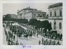 Prince Leopold of Bavaria (on horseback in front) and units of the 9th German army entering Warsaw, 1915.