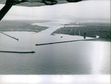 "Aerial view of Bizerte port in Tunisia.   ""Bizerte""  1961"