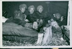 "Finnish soldiers lying on the ground and relaxing.  ""Finnish The first pictures __ Finnish-Russian war __ ""  1939"