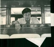 Yves Montand during a movie recording