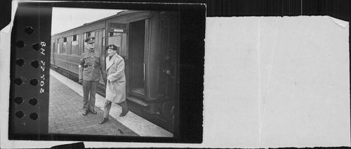 Field Marshal Bernard Law Montgomery coming out of train.