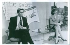 """Kevin Bacon and Elizabeth Perkins in a scene from a 1991 American romantic comedy film, """"He Said, She Said."""""""
