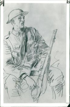 Augustus John (seated soldier with a Rifle)