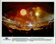 Fireworks explode over Nagano Minami Park during the closing ceremony of the Winter Olympics in 1998
