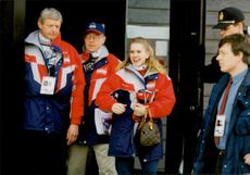 Constable Tonya Harding leaves the Olympic Accreditation Center in Hamar
