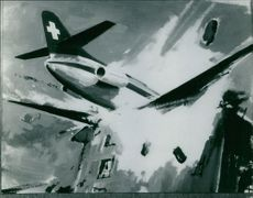 Photo of a plane crash painting.  Taken - 6 Sept. 1963