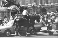 Riding police in London.