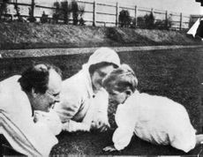 Randolph Churchill with his family.