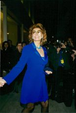 Sophia Loren arrives at a cocktail party in New York