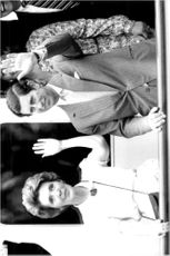 Prince Charles together with Mrs. Nancy Regan aboard the yacht Highlander, owned by US businessman Malcolm Forbes.