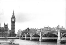 Black and white photograph at Westminster Bridge and Big Ben in London.
