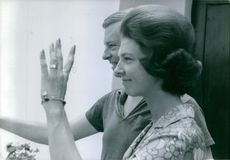 Baron Nils August and Princess Désirée of Silfverschiöld seen waving their hands. 1964.