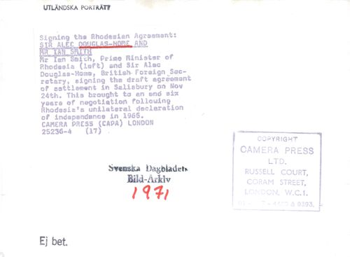 """Mr Ian Smith and Sir Alec Douglas-Home writes under the """"Rhodesian Agreement"""""""