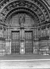 Entrance to the Victoria and Albert Museum in London, photographed in black and white.