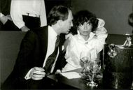 Bianca Jagger together with Olivier de Montal on his 30th birthday