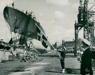 """The launch of the destroyer """"Halland""""."""