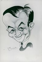A caricature representing Georges Bidault of the cartoonist Maudouit