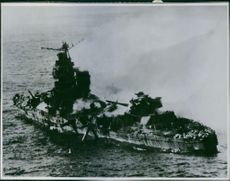 Photo of a destroyed Japanese cruiser.