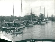 View of boats in the port in Irstead.