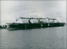 "The Liberian tanker ""Golar Spirit,"" built in Japan between 1977 and 1981 at anchor in the west German port of Wilhemshaven. 1984."
