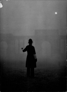 A policeman shows the way in the fog at Hyde Park Corner