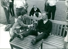 Bob Manry being interviewed by a reporter.  - 1965