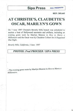 """The dress that Marilyn Monroe had in the movie """"How to Get a Millionaire"""" is to be auctioned"""