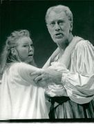 "Rudi Davies and Max von Sydow in ""The Tempest"" at The Old Vic Theater in London"