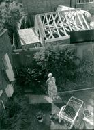 Aerial view of woman in the garden.
