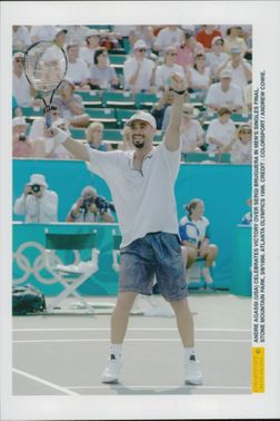 American tennis player Andre Agassi after winning the final against Sergi Bruguera during the Olympic Games in Atlanta in 1996