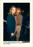 """Actress Brooke Shields and Andre Agassi at the premiere of """"Grease"""" on Broadway"""