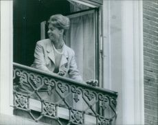 1962 A photo of a Swedish princess, the eldest sister of King Carl XVI Gustaf of Sweden and also first cousin of Queen Margrethe II of Denmark Princess Margaretha looking back standing in the terrace.