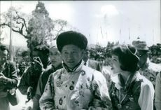 a photo of Royal couple Late Chogyal Palden Thondup Namgyal with his American Gyalmo Hope Cooke on a special event.