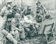 Field Marshal Bernard Montgomery instructs his officers