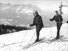 Princess Irene  of Netherlands skiing with her husband Duke Carlos Hugo. 1964.