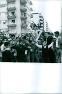 Young people of Lebanon gathered on the street.