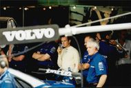 Team Volvo and driver Rickard Rydell supervise the Brands Hatch competitions.