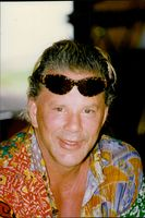 Portrait of Mickey Rourke during his vacation in Tahiti.