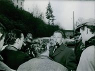 Maurice Challe, French general during the Algerian War, in front of press with his favorite smoking pipe.