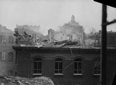 Scene of a wrecked building in Finland.  - 1939