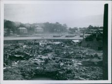 A view of the destruction during the war in Trondheim, Norway.