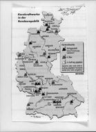 Illustrated map with West Germany's nuclear power plants exposed